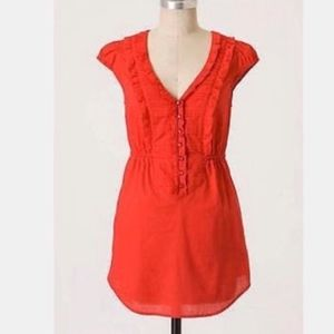 ANTHROPOLOGIE | red babydoll tie back tunic 0428